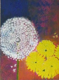 Handgemaltes Acrylbild mit dem Titel Löwenzahn gemalt mit Acrylfarben auf Pappe direkt von der Künstlerin kaufen  - Handarbeit kaufen