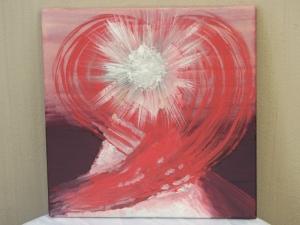 Handgemaltes Acrylbild mit dem Titel Herz Engel in Rosarot gemalt mit Acrylfarben auf Keilrahmen direkt von der Künstlerin kaufen - Handarbeit kaufen