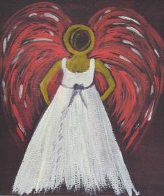 Handgemaltes Acrylbild mit dem Titel Engel gemalt mit Acrylfarben auf Pappe direkt von der Künstlerin kaufen  - Handarbeit kaufen