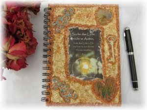 Handgestaltetes Tagebuch Journal Gästebuch Wünschebuch Notizbuch Blankobuch DIN A5 mit schönen Sprüchen und Gedichten plus einem kleinen Geschenk - Handarbeit kaufen