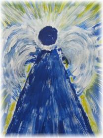 Grußkarte Faltkarte Klappkarte Engel abstrakt handgemalt direkt von der Künstlerin - Handarbeit kaufen