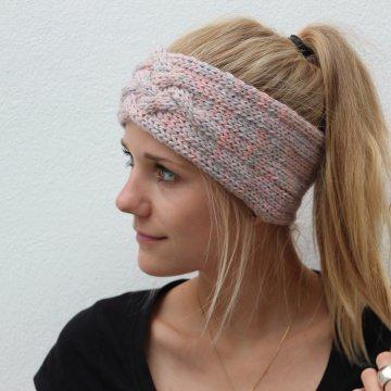 Stirnband handgestrickt *ZOE multi*  rosa grau von zimtblüte  3 x Farbverlaufswolle