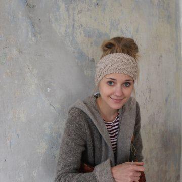 Stirnband *EFFI merino* sand von zimtblüte handgestrickt / 3 Farben