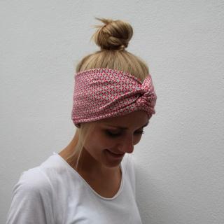 Haarband Stirnband **KORALLE**  grafisches Muster im Turbanstyle von zimtblüte kaufen - Handarbeit kaufen