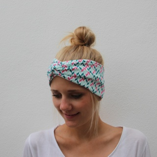 Haarband Stirnband genäht  * Primrose *  grafisches Muster  Turbanstyle Handarbeit von zimtblüte