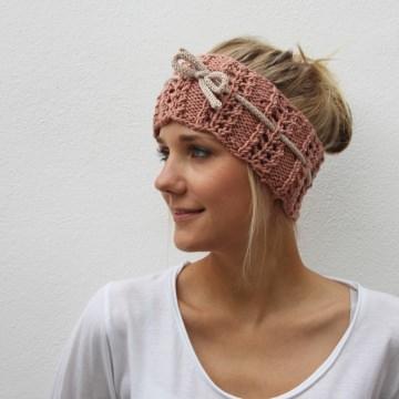 Gestricktes Stirnband * NELE * romantisch mit Lochmuster von zimtblüte - Handarbeit kaufen