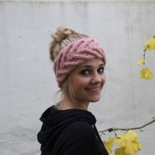 Stirnband EFFI alpaka handgestrickt puderrosa von zimtblüte Handarbeit mehrere Farben
