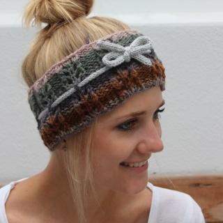 Gestrickt Stirnband **  NELE  ** von zimtblüte Farbverlauf  mit Lochmuster