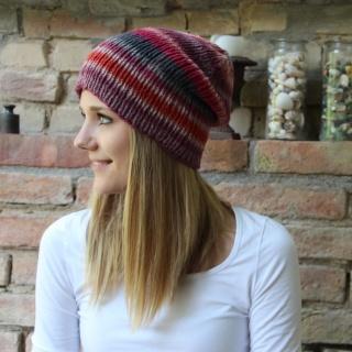 leichter Beanie gestrickt  * INGA *  Wollbeanie Farbverlaufswolle  - Handarbeit kaufen