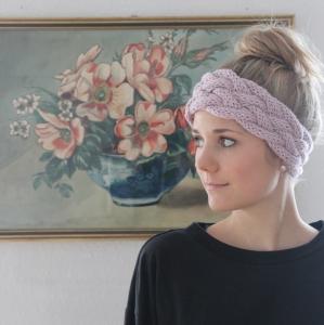 Stirnband Modell * MINA * handgestrickt von zimtblüte puderrosa / Farbwahl
