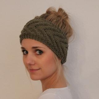 Stirnband *EFFI merino* in salbei grün von zimtblüte handgestrickt  - Handarbeit kaufen