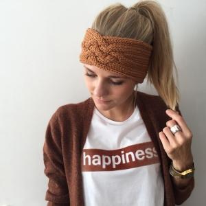 Gestricktes Stirnband *ZOE *  Handarbeit  aus Wolle von zimtblüte karamell und andere Farben - Handarbeit kaufen