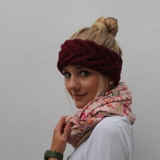 Bordeaux Stirnband ** EFFI alpaka **  dunkelrot handgestrickt von zimtblüte /  Farbwahl