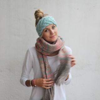 Stirnband **EFFI alpaka** mint gestrickt Wolle / Alpaka  von zimtblüte / 8 Farben