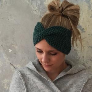 Stirnband Modell **MARIE**  tannengrün handgestrickt von zimtblüte / Farbwahl