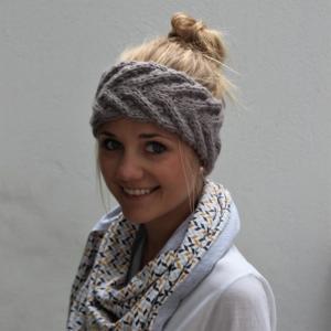 Stirnband  handgestrickt **EFFI alpaka** grau von zimtblüte / 7 Farben