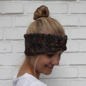 Stirnband aus Wolle  **  CARO melange ** Turbanstirnband von zimtblüte handgestrickt mit Twist - Handarbeit kaufen