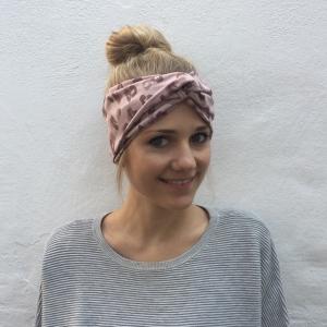 Turban Stirnband ** LEOPRINT ** puderrosa von zimtblüte im Turbanstyle zwei Farben