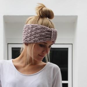 Stirnband * SARA * mit Schlaufe aus Wolle handgestrickt von zimtblüte / Farbwahl   - Handarbeit kaufen