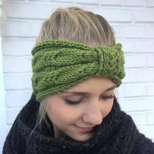 LAST MINUTE  Stirnband * BELLE * olivgrün aus Wolle handgestrickt von zimtblüte / Farbwahl