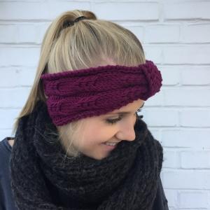 Stirnband * BELLE * zyklam aus Wolle handgestrickt von zimtblüte / Farbwahl     - Handarbeit kaufen