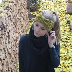 Stirnband * ANNA * senfgelb von zimtblüte  handgestrickt in 4 Farben   - Handarbeit kaufen