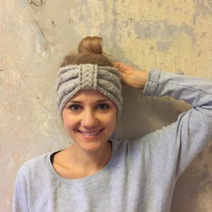 Stirnband * BELLE * hellgrau feine Wolle mit Kaschmir handgestrickt von zimtblüte / 3 Farben
