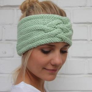 Gestricktes Stirnband *ZOE *  Handarbeit  aus Wolle von zimtblüte zartes Grün und andere Farben  - Handarbeit kaufen