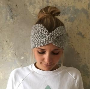 Stirnband * MARIE *  hellgrau handgestrickt von zimtblüte   - Handarbeit kaufen