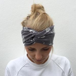 Haarband Stirnband  * PUSTEBLUME *  Turbanstyle grau Handarbeit von zimtbluete