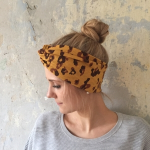 ! SALE ! Turban Stirnband **LEOPRINT** Animalprint  Handarbeit von zimtbluete