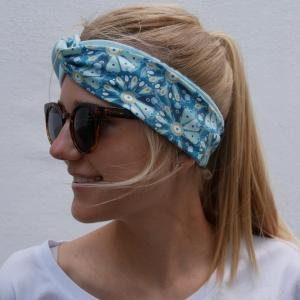 Turban Stirnband * FLOWERS * Haarband blau türkis mint Handarbeit von zimtbluete