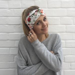 Turban Stirnband * ROSE *  und Rotkehlchen Handarbeit von zimtblüte  Haarband