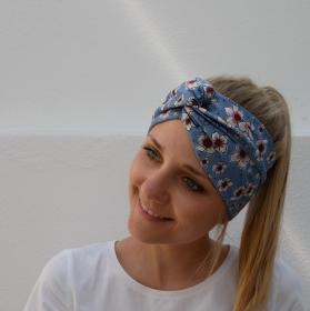 Turban Stirnband Modell KIRSCHBLÜTE*  auf blau Handarbeit von zimtblüte  Haarband   - Handarbeit kaufen