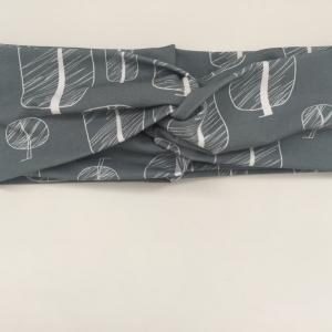 ! SALE ! Turbanstyle Stirnband MODERNART auf graublau Handarbeit von zimtblüte  TurbanHaarband   - Handarbeit kaufen