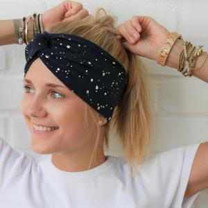 Turbanstyle Stirnband BLINGBLING silberfarben auf blau Handarbeit von zimtblüte  TurbanHaarband