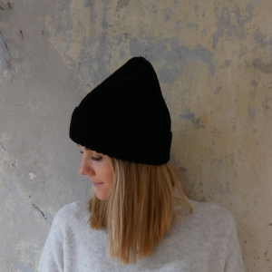 Beanie handgestrickt  * BASIC * schwarz Wollbeanie unisex von zimtblüte   - Handarbeit kaufen