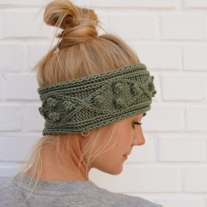Stirnband Modell POPKORN * oliv grün oder Wunschfarbe aus Wolle handgestrickt Handarbeit von zimtblüte
