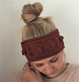 Stirnband Modell POPKORN * rostrot aus Wolle handgestrickt 5 FarbenHandarbeit von zimtblüte