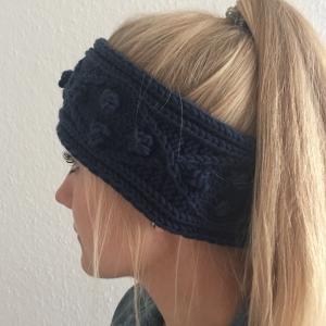 Stirnband Modell  POPKORN  jeansblau aus Wolle handgestrickt 5 Farben Handarbeit von zimtblüte - Handarbeit kaufen
