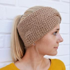 Stirnband * TWIST *  für Frauen aus Babyalpaca Sand handgestrickt von zimtblüte    4 Farben - Handarbeit kaufen