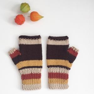 Fingerlose Handschuhe Stulpen  * INDIANSUMMER * Farben aus Wolle handgestrickt von zimtblüte / Farbwahl
