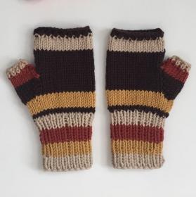 LAST MINUTE  Fingerlose Handschuhe Stulpen Farben aus Wolle handgestrickt von zimtblüte
