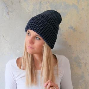 Beanie Mütze handgestrickt  * BASIC * dunkelblau Wollbeanie unisex von zimtblüte    - Handarbeit kaufen