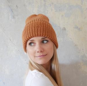 Beanie handgestrickt  * BASIC * karamell  Wollbeanie unisex von zimtblüte    - Handarbeit kaufen