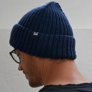Beanie handgestrickt  * BASIC * Männermütze dunkelblau Wollbeanie unisex von zimtblüte