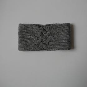 Gestricktes Stirnband *ZOE *  Handarbeit  aus Wolle von zimtblüte grau und andere Farben   - Handarbeit kaufen