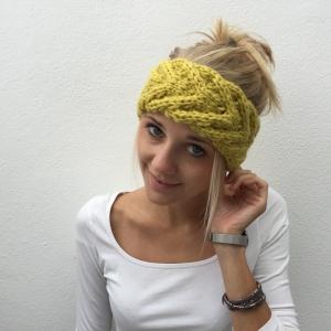 Stirnband **EFFI alpaka** gelb handgestrickt von zimtblüte mehrere Farben   - Handarbeit kaufen