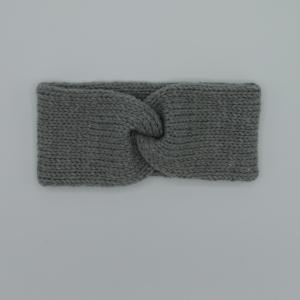 Stirnband Modell CARO double Wolle mit Kaschmir von zimtblüte puderrosa und grau handgestrickt