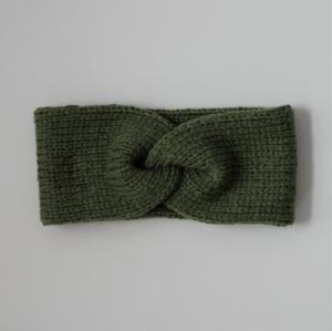 Stirnband CARO double mit Kaschmir von zimtblüte grün handgestrickt